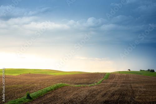 Fotobehang Diepbruine Minnesota farmland at sunset