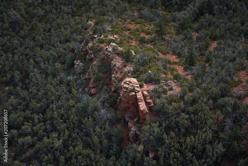 Aerial rock formation in desert landscape