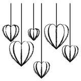 hearts love hanging decorative icon vector illustration design - 207209070