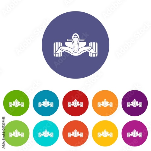 Fotobehang F1 Racing car formula icons color set vector for any web design on white background