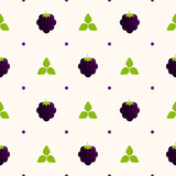 Food - Fruit -  Seamless Pattern with Blackberries and Polka Dots on a Beige Background - 207212236