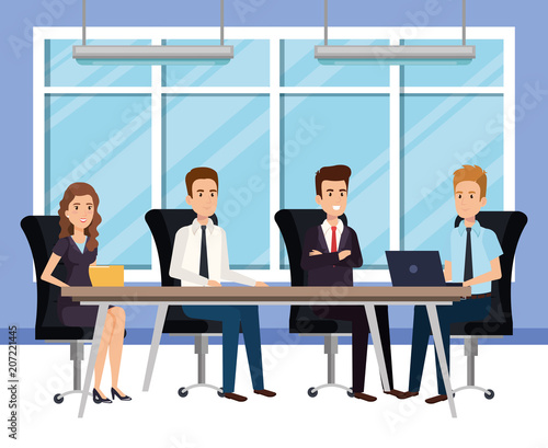 business people in the boardroom isometric avatars vector illustration design