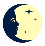vector image Moon with girl face