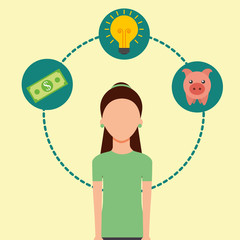 woman banknote piggy bank and idea saving money vector illustration