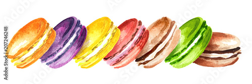 Plexiglas Macarons Traditional french Cake macaron or macaroon, colorful almond cookies. Watercolor hand drawn horizontal illustration, isolated on white background