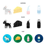 Goat, a piece of cheese and other products. Milk set collection icons in cartoon,black,flat style vector symbol stock illustration web. - 207247039