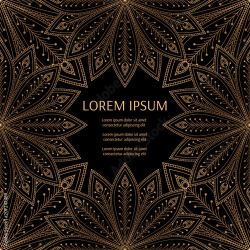 Luxury background vector. Peacock feathers royal pattern frame. Golden vintage design for beauty spa salon flyer, wedding party invitation, save the date, holiday christmas and new year card. - 207247489