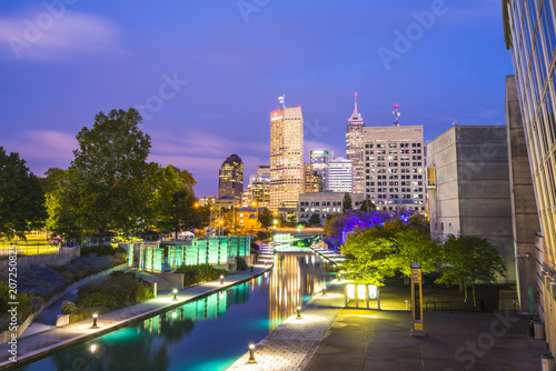 indianapolis,indiana,usa-09-13-17, beautiful indiannapolis skyline with reflection on water. © checubus