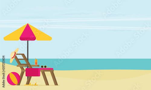 Aluminium Lichtblauw A tropical sea island. Flat design vector illustration.