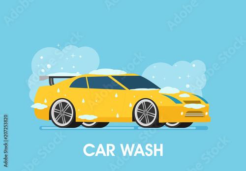 Aluminium Auto Car wash. Flat design vector illustration.