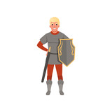 Medieval warrior character with shield and sword vector Illustration on a white background - 207259031