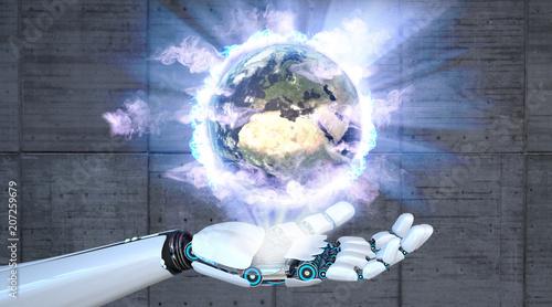 Leinwanddruck Bild Robot Hand Earth