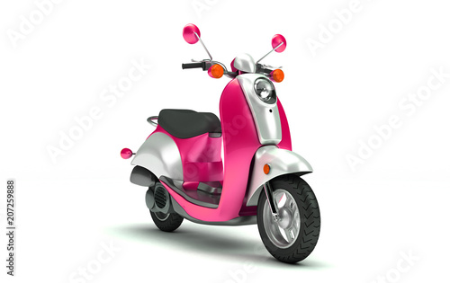 3D Rendering of shine pink and chrome retro motor scooter isolated on white background. Perspective View of Vintage Motorcycle