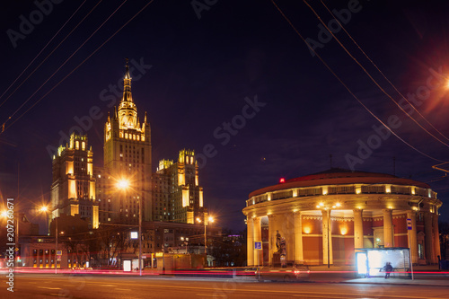 Fotobehang Nacht snelweg The light trails on the modern building background in Moscow, Russia