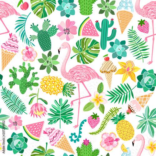 Vector tropical summer seamless pattern