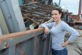beautiful woman at the dump - 207266058