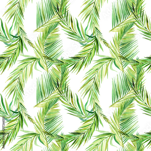 Watercolor seamless pattern with tropical leaves. - 207266050