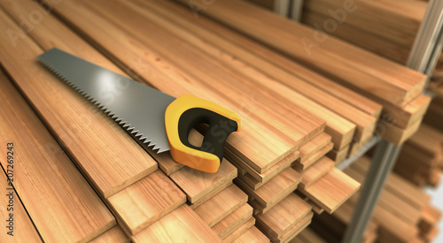 Wood and Saw - 207269243