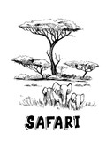 Sketch of the African savanna with elephant - 207281202