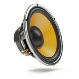 Loudspeaker.  Multimedia acoustic sound speaker isolated on white  background. - 207286441