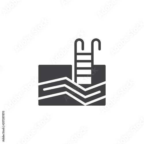 Swimming Pool Ladder vector icon. filled flat sign for mobile concept and web design. Basin solid icon. Symbol, logo illustration. Pixel perfect vector graphics