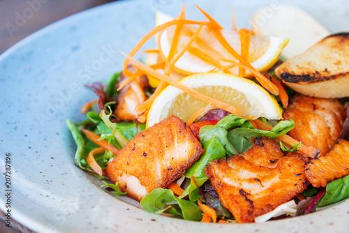Fresh seafood salad with smoked salmon - 207287896