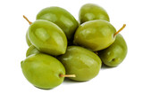 green wet olives on white