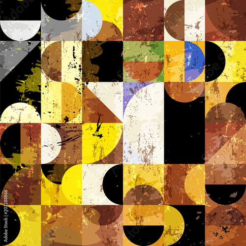 Fotobehang Abstract met Penseelstreken abstract geometric background pattern, retro/vintage banckground, with circles, paint strokes and grungy texture