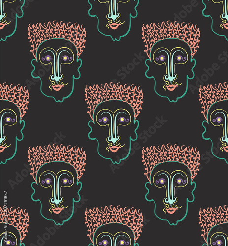 seamless African abstract pattern in the eighties style