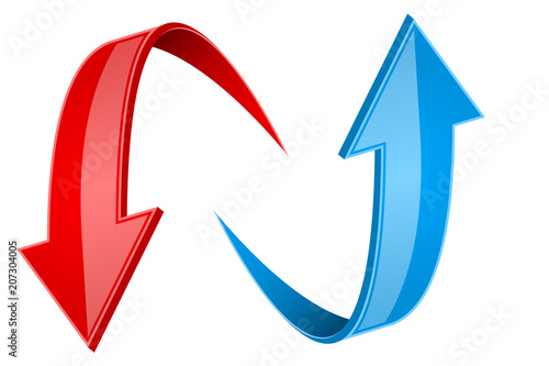 Red and blue 3d arrows. Up and down signs