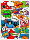Comic book page divided by lines with speech bubbles, rocket, superhero and sounds effect. Retro background mock-up. Illustration