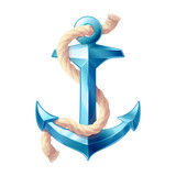vector sea ocean maritime icon blue vintage Anchor; rope