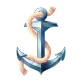 vector realistic vintage sea anchor rope iron icon. Nautical volume metal cartoon sketch. Silver pop art naval logo pattern. Boat symbol maritime design illustration isolated on background