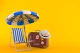 Umbrella with suitcase and deck chair - 207310047