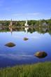 Three churches in Mahone Bay, Nova Scotia, Canada