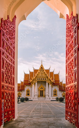 Fotobehang Thailand Marble temple one of popular temple in Thailand