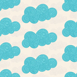 Seamless abstract background with doodle curly clouds on white background. Infinity geometric pattern. Vector illustration.  - 207317860