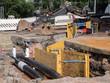 Fernwärmerohre werden verlegt Baustelle