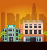 cityscape buildings scene icons vector illustration design - 207323003