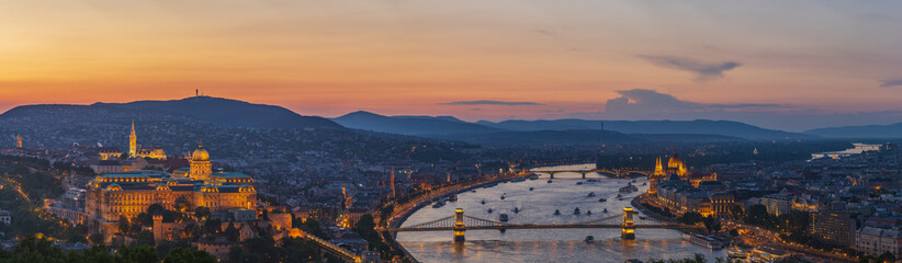 View to Budapest skyline form Citadella Hill at sunset