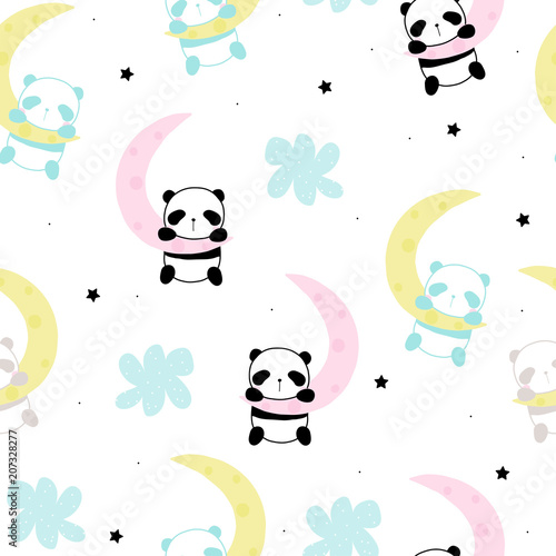 Cute little panda sleep on the moon seamless pattern. Vector hand drawn illustration.