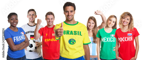 Aluminium Voetbal Optimistic brazilian soccer supporter with fans from other countries