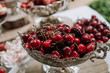 cherry fruit holiday table decorated outside summer