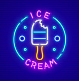 Ice-cream at stick neon icon. EPS10 vector illustration.