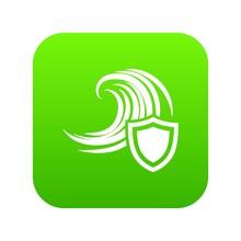 Flood Protection Icon Green     Sticker