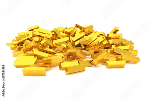Bunch or pile of gold bars or brick, modern style background or texture. Pattern, flying, cover & money. - 207344884