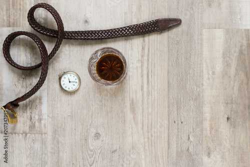 Belt, Pocket Watch and Drink - Men's Life
