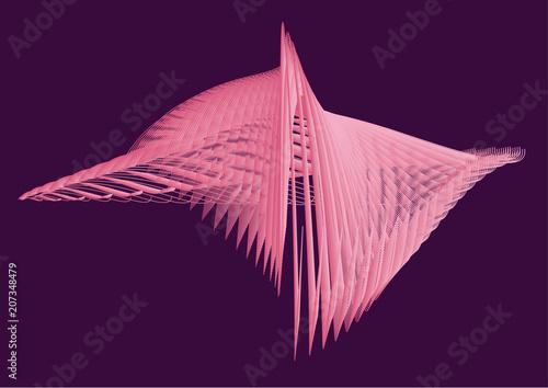Fancy floaty pink shape in the purple background. Vector.