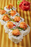 Japanese sushi roll topped
