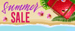 Summer sale seasonal banner design with flowers, travel bag and beach. Calligraphic text can be used for signs, labels, flyers, posters